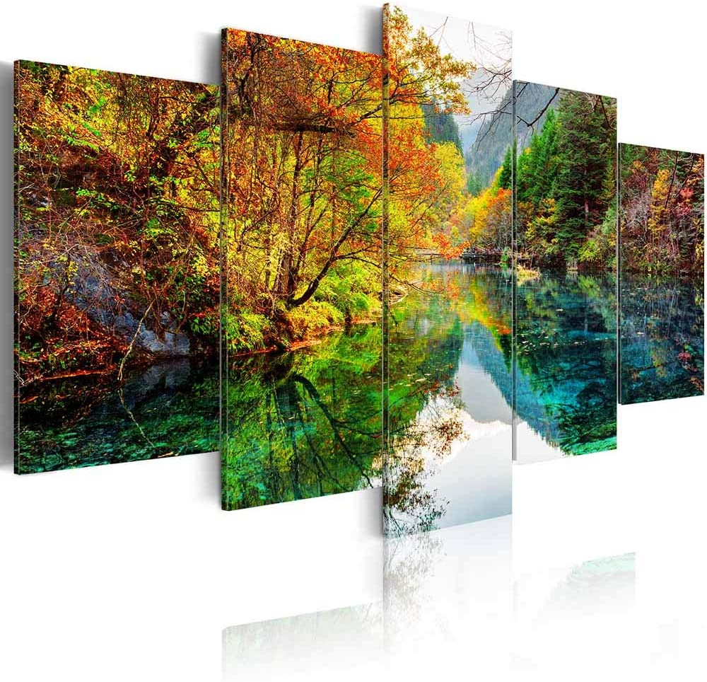ArtHome520 Yellow Autumn Moutains Forest Canvas Print Home Decor Green Fall Lake Pictures Wall Art for Living Dining Room Modern Framed 5 Panel (8''x12''x2+8''x16''x2+8''x20''x1)