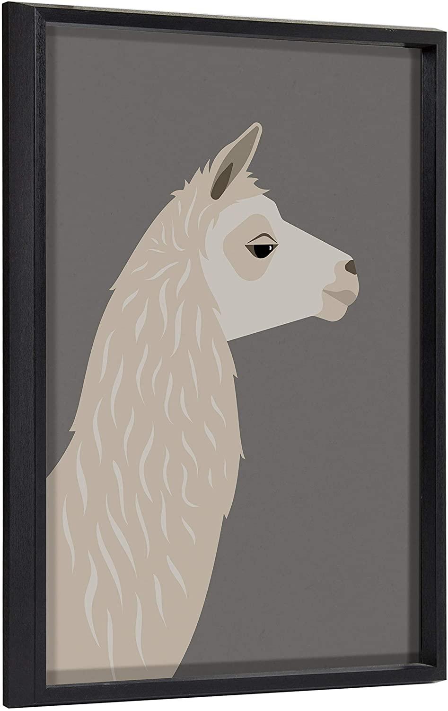 Kate and Laurel Blake Llama Larry Framed Printed Wood Wall Art by Rocket Jack, 18x24 Black, Whimsical Animal Art for Wall