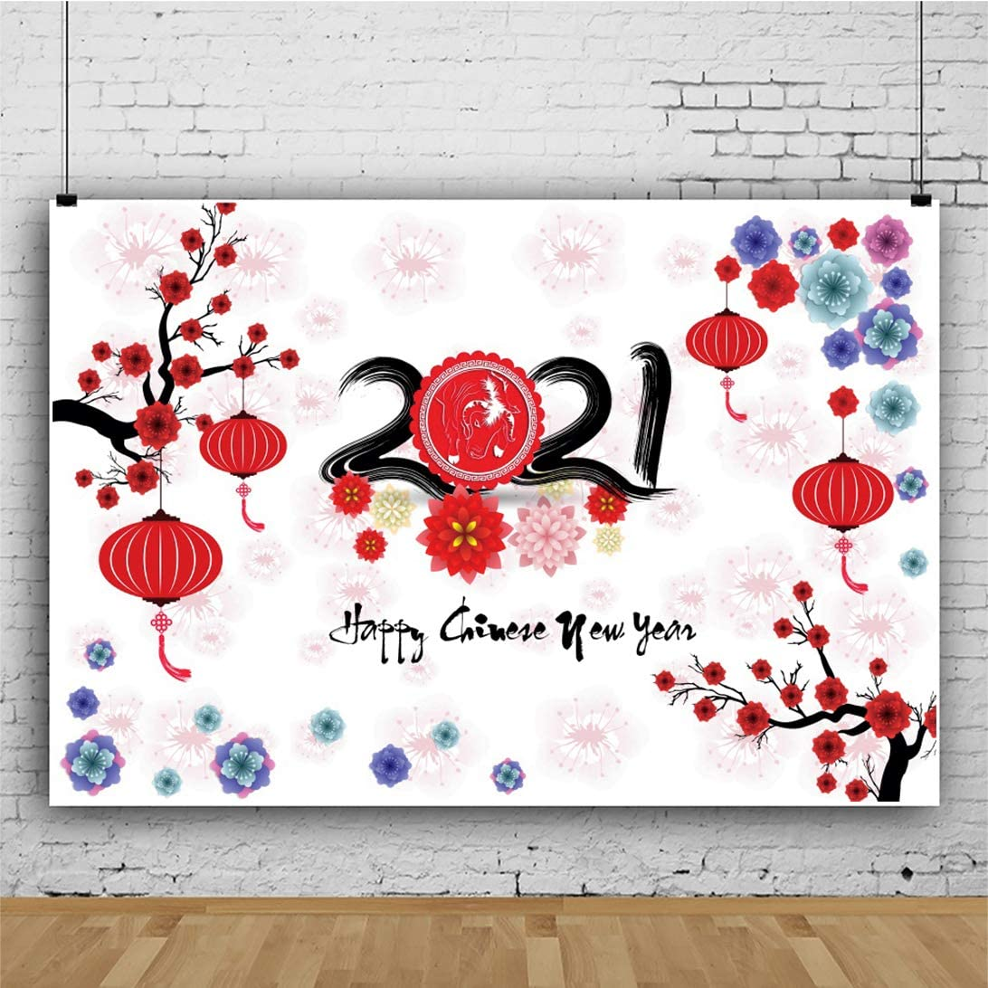 OERJU 10x8ft Happy Chinese New Year Backdrop Year of 2021 Colorful Floral Red Lantern White Background for Photography Family Union Party Newborn Baby Shower Decorations Vinyl Wallpaper