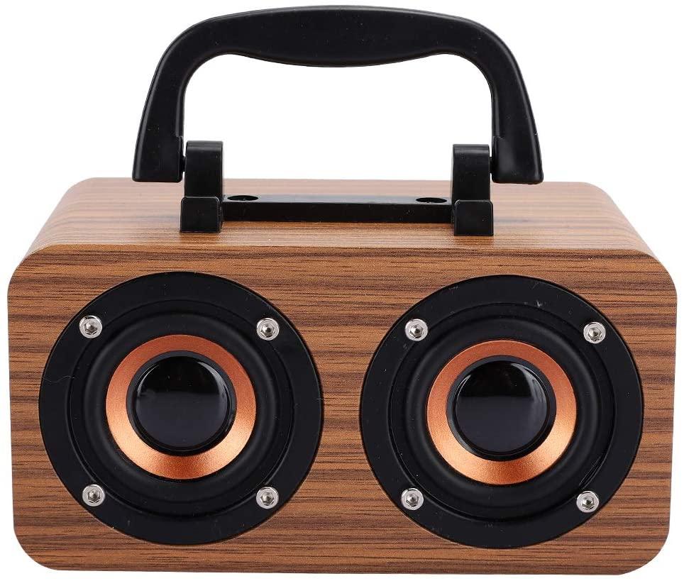 Hilitand Portable Bluetooth Speaker, Wireless Vintage Wooden Speaker, Retro Speaker, Support Memory Card Playback(Earth Wood Grain)