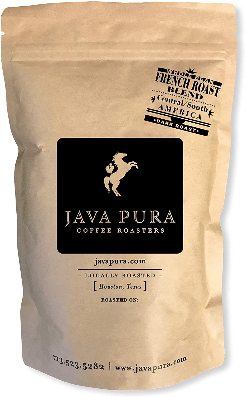 Java Pura - French Roast Whole Bean Fresh Roasted Coffee, Premium Artisan Brazil & Costa Rica Blend - Medium Roast (12 oz. Bag)