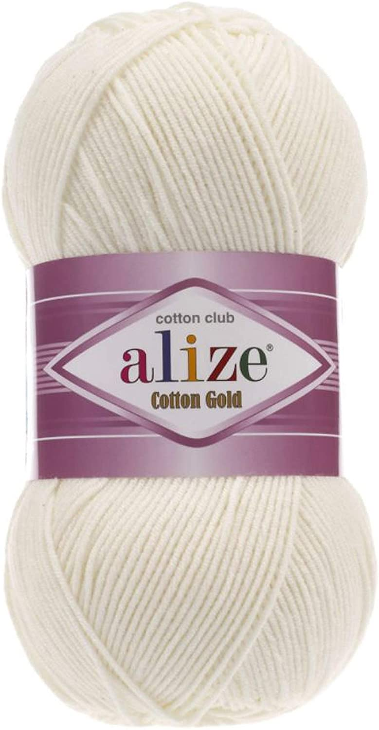 55% Cotton 45% Acrylic Alize Cotton Gold Yarn 1 Skein/Ball 100 gr 360 yds (62-Light Cream)