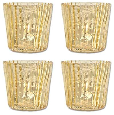 Luna Bazaar Vintage Mercury Glass Candle Holders (3-Inch, Caroline Design, Vertical Motif, Gold, Set of 4) - for Use with Tea Lights - for Parties, Weddings, and Homes - Mercury Glass Votive Holders