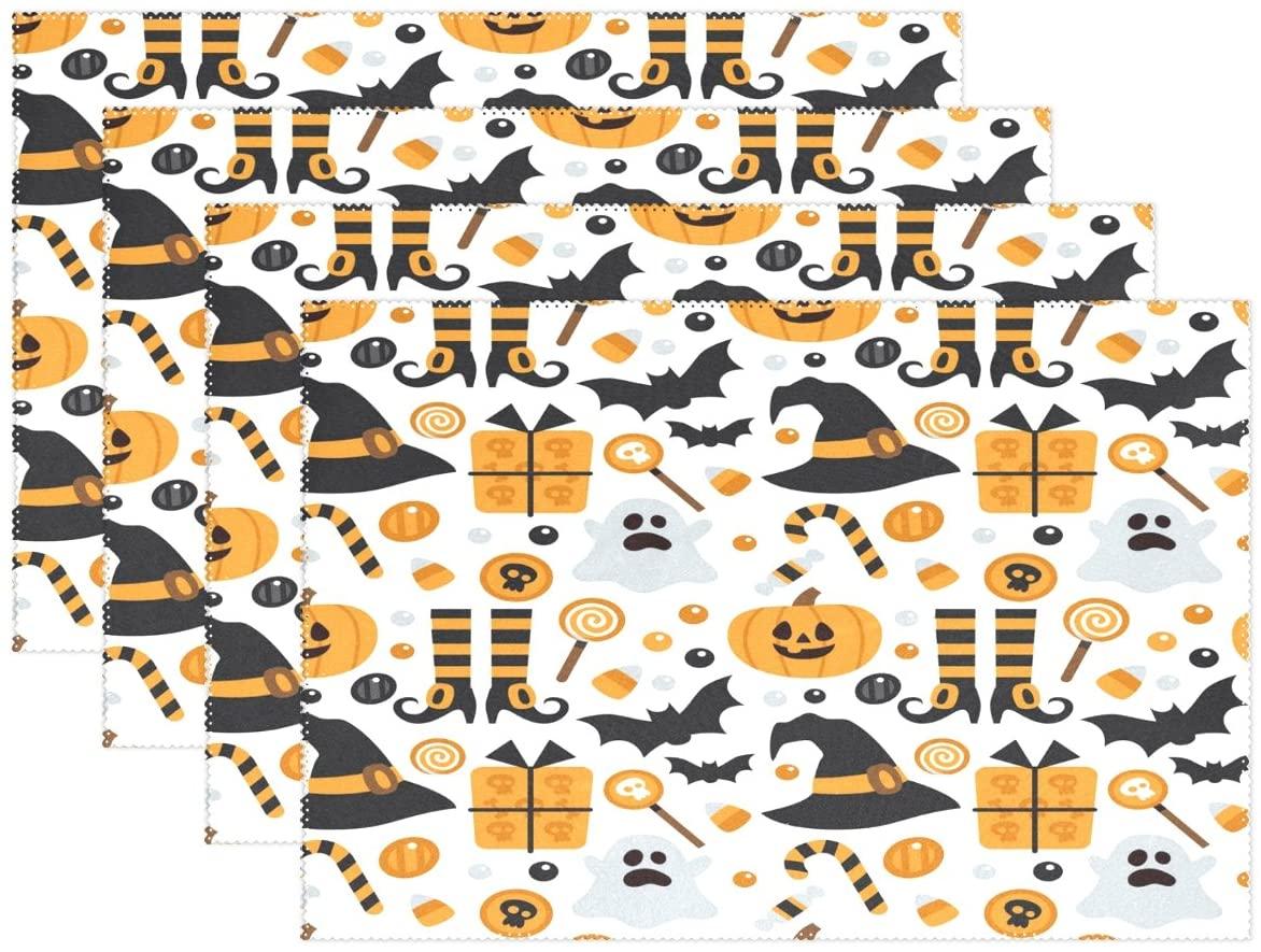 WOZO Halloween Pumpkin Bat Ghost Placemat Table Mat 12