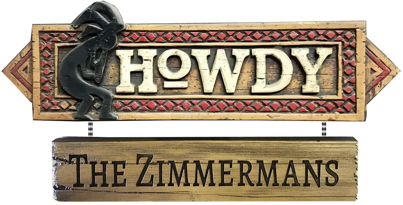 Piazza Pisano Howdy Kokopelli Southwest Decor Welcome Personalized Home Sign