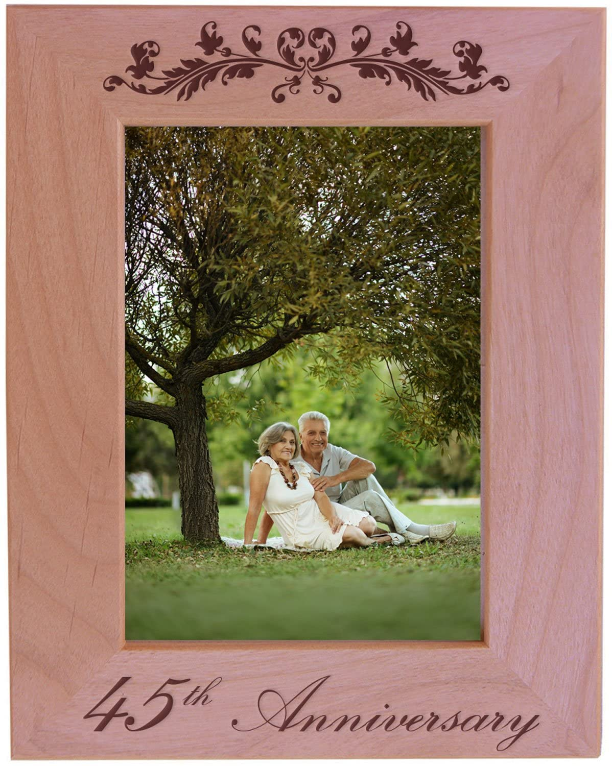 CustomGiftsNow 45th Anniversary - Engraved Natural Alder Wood Tabletop/Hanging Wooden Wedding Picture Frame (5x7-inch Vertical)
