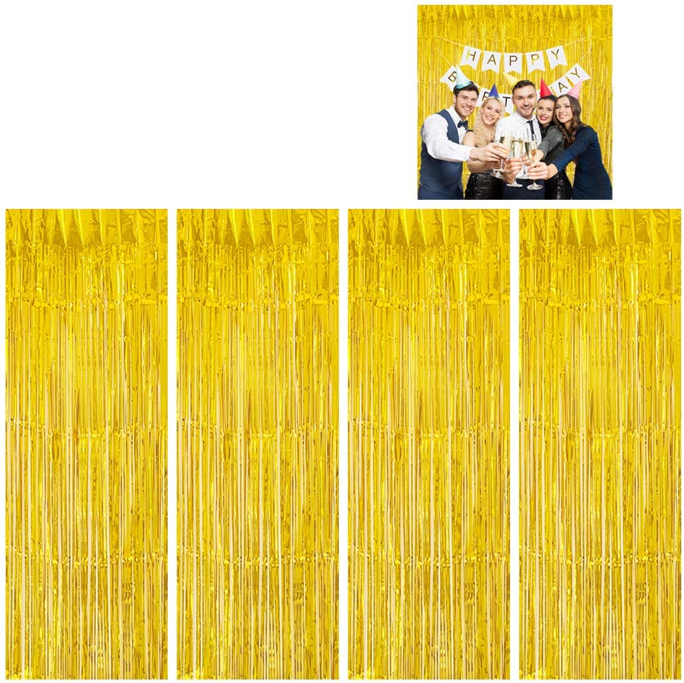 Moohome 4 Pack 3ft x 8ft Gold Foil Fringe Curtains Backdrop Door Window Curtain Party Decoration (4-Pack, Gold)