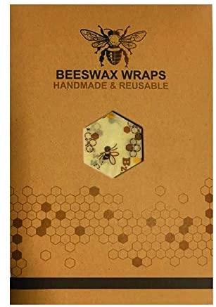 "ecofworld Organic Beeswax Food Wraps   6 pack 7"" - 10"" -13""   Bee Good Wraps   Reusable Zero Waste Plastic Free Food Wrap   Beeswax Paper Food Wraps   Multipurpose (Yellow Banana)"