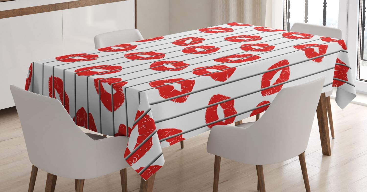 Ambesonne Glamour Tablecloth, Woman Lips Behind The Bars Female Love Romance Valentines Day Print, Dining Room Kitchen Rectangular Table Cover, 52