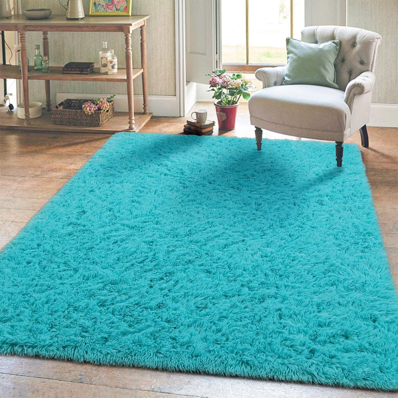 Super Soft Kids Room Nursery Rug 5' x 8' Blue Area Rug for Bedroom Decor Living Room Floor Carpets Fur Mat by VaryCarry