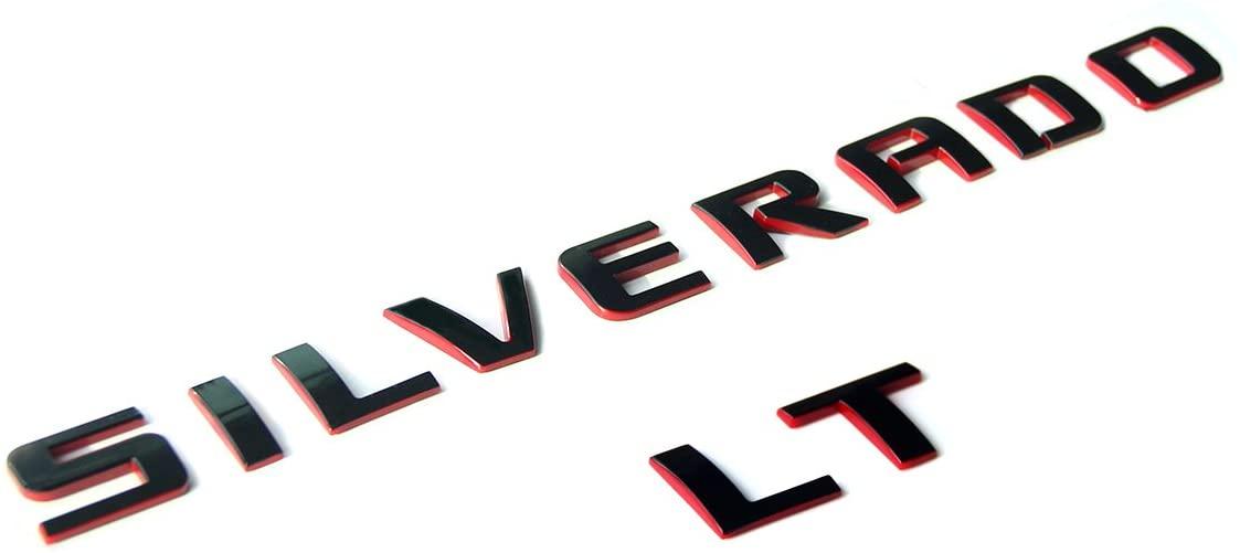 Yoaoo Silverado Lt Nameplate Letter Emblem 3D Badge 1500 2500Hd 3500Hd Original Silverado Series Lt Red Line