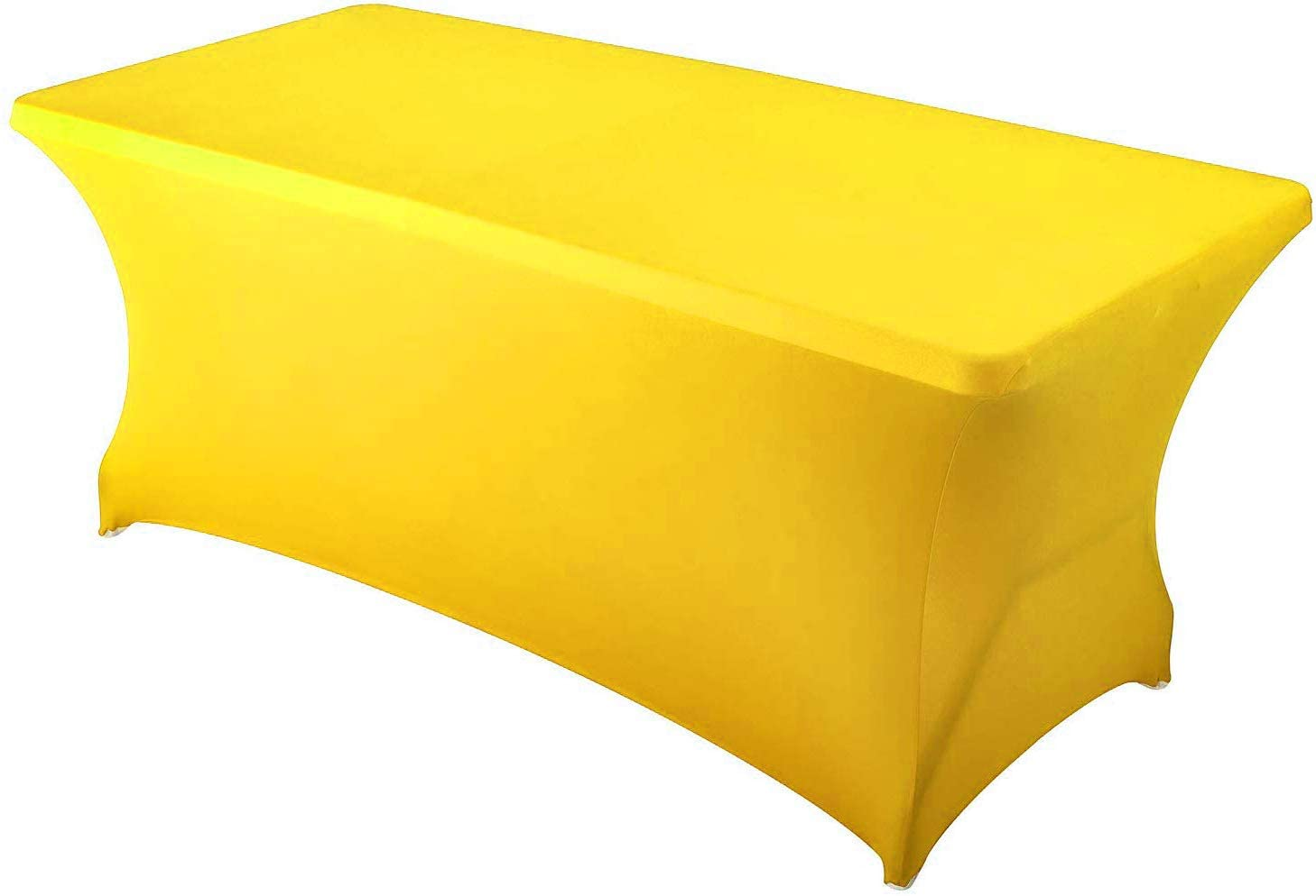 mds Pack of 10 Rectangular Stretch Spandex Table Cover 8ft Fitted Spandex Tablecloths for Wedding Decorations Table Toppers - Yellow (8ft)