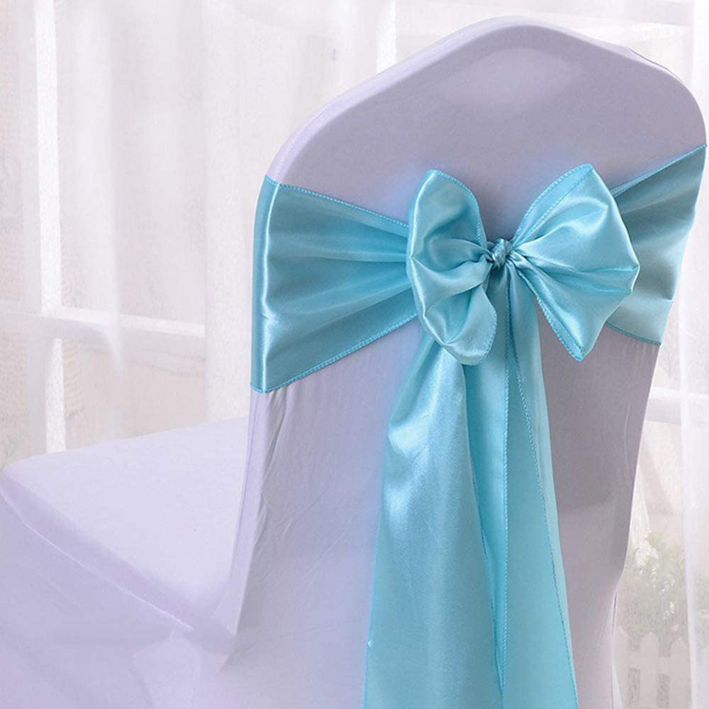 KingQin 5/10/25/50/100pcs Satin Chair Sashes Chair Ribbons Bows for Wedding Banquet Party Chair Cover Tie Back Decor