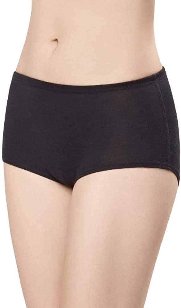 Utenos 100% Merino Wool Women's Base Layer Underpants Made in EU (Black, XXXL)