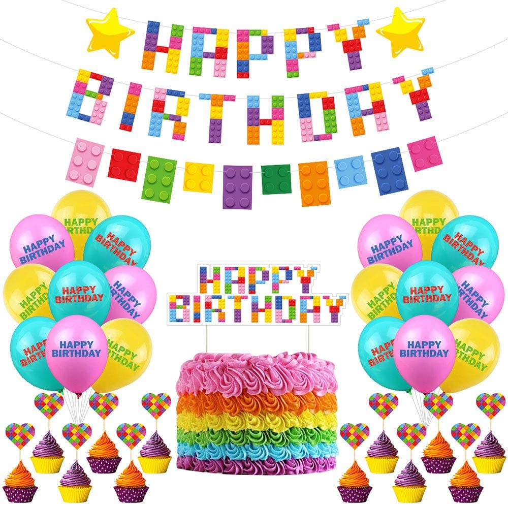 Building Block Party Decorations Brick and Block Birthday Banner for Kids Boys Building Block Themed Birthday Party Supplies with Banners Cake Toppers and Latex Balloons
