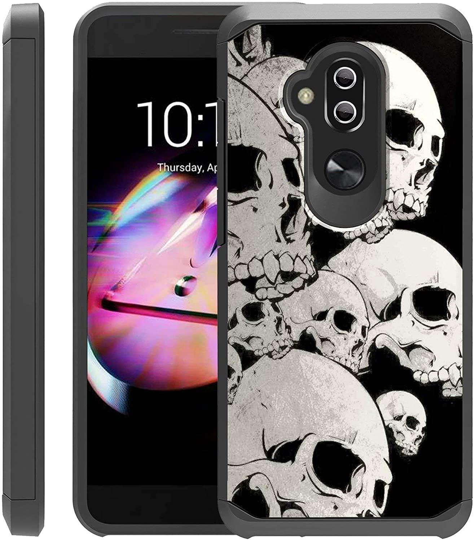 Untouchble Case for Alcatel 7, Alcatel Folio 7, Alcatel REVVL 2 Plus (2018) Case [Shock Bumper Case] Multi Layer Slim Fit Smooth Finish Case with Design - White Skulls