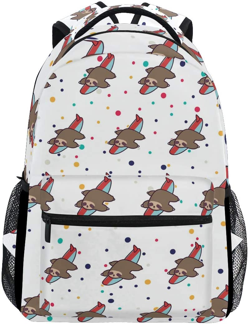 Stylish Cute Sloth Surfing Backpack- Lightweight School College Travel Bags, ChunBB 16