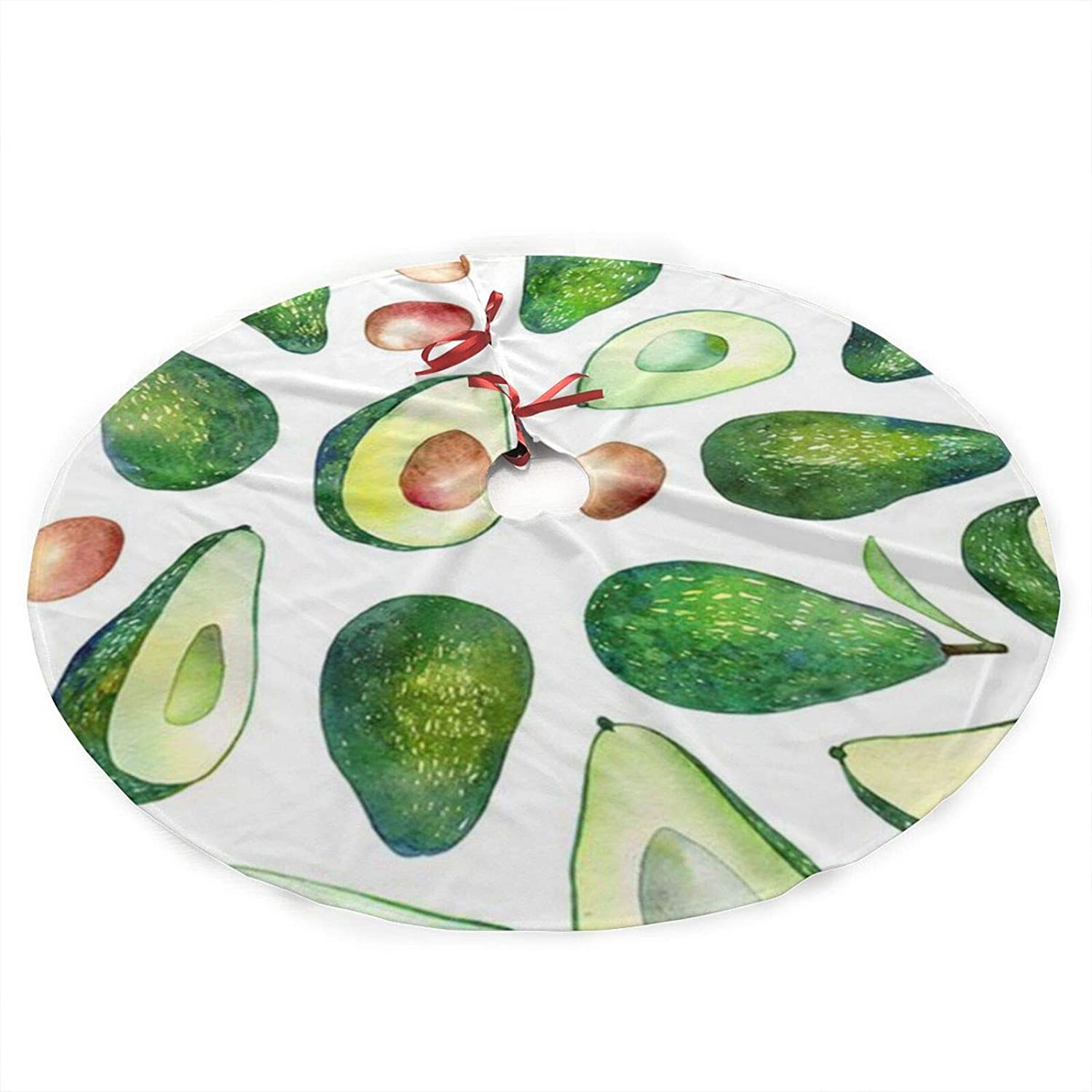 antcreptson Fresh Avocado Christmas Tree Skirt Xmas New Year Holiday Decorations Indoor Outdoor 36 Inch