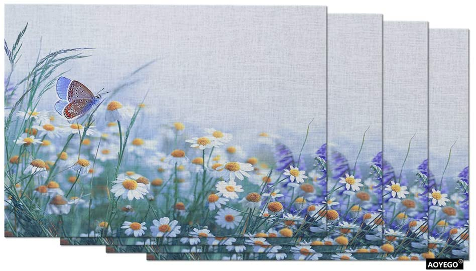 AOYEGO Floral Field Place Mats 12x18 Inch Butterfly Flower Chamomile Purple Lavender Grass Table Placemats Set of 4 Cotton Linen for Dining Room Kitchen Home Decor