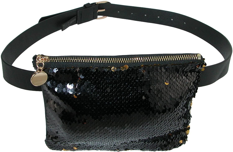 CTM Mermaid Color Changing Sequin Waist Pack Belt Bag, Black Gold