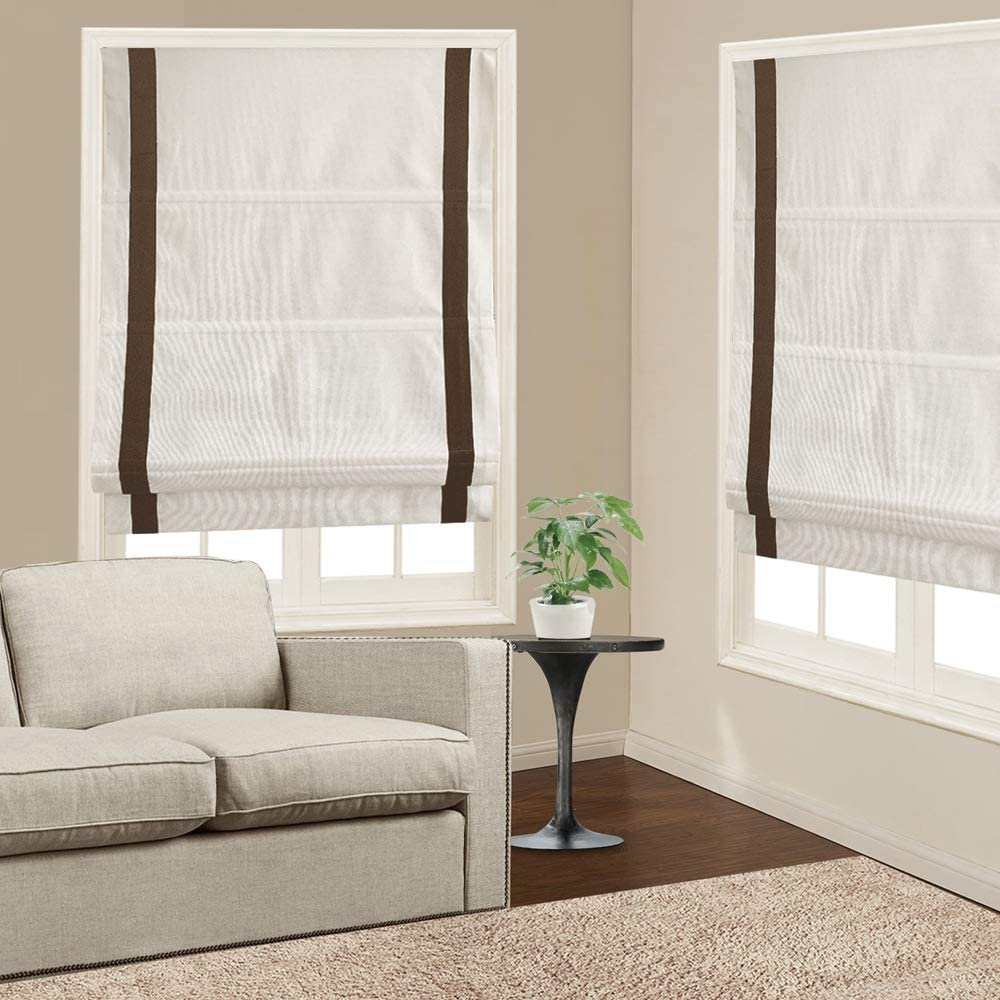 Roman Shades Window Blinds, White Coffee Premium Blackout Roman Window Shades, Custom Washable Fabric Roman Shades for Windows, Doors, French Doors, Kitchen Windows (1 Piece)
