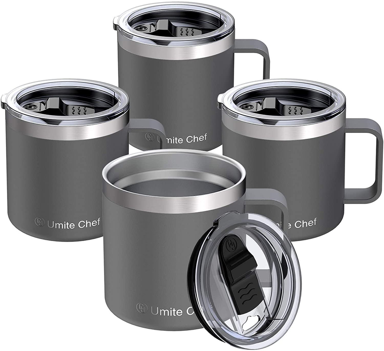 14oz Stainless Steel Insulated Coffee Mug with Handle, Umite Chef Double Wall Vacuum Tumbler with Sliding Lid Travel Friendly, Gray, 4 Pack