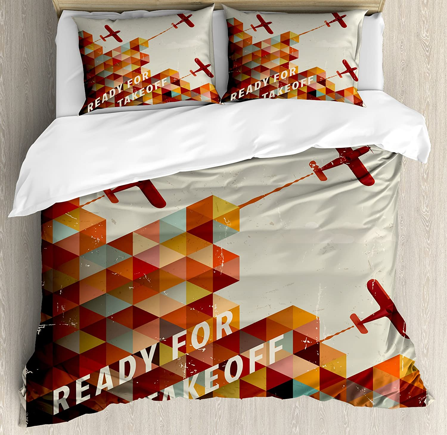 Ambesonne Vintage Airplane Duvet Cover Set, Ready for Take Off Retro Style Geometric Pattern Triangles Clouds Planes, Decorative 3 Piece Bedding Set with 2 Pillow Shams, Queen Size, Burnt Orange