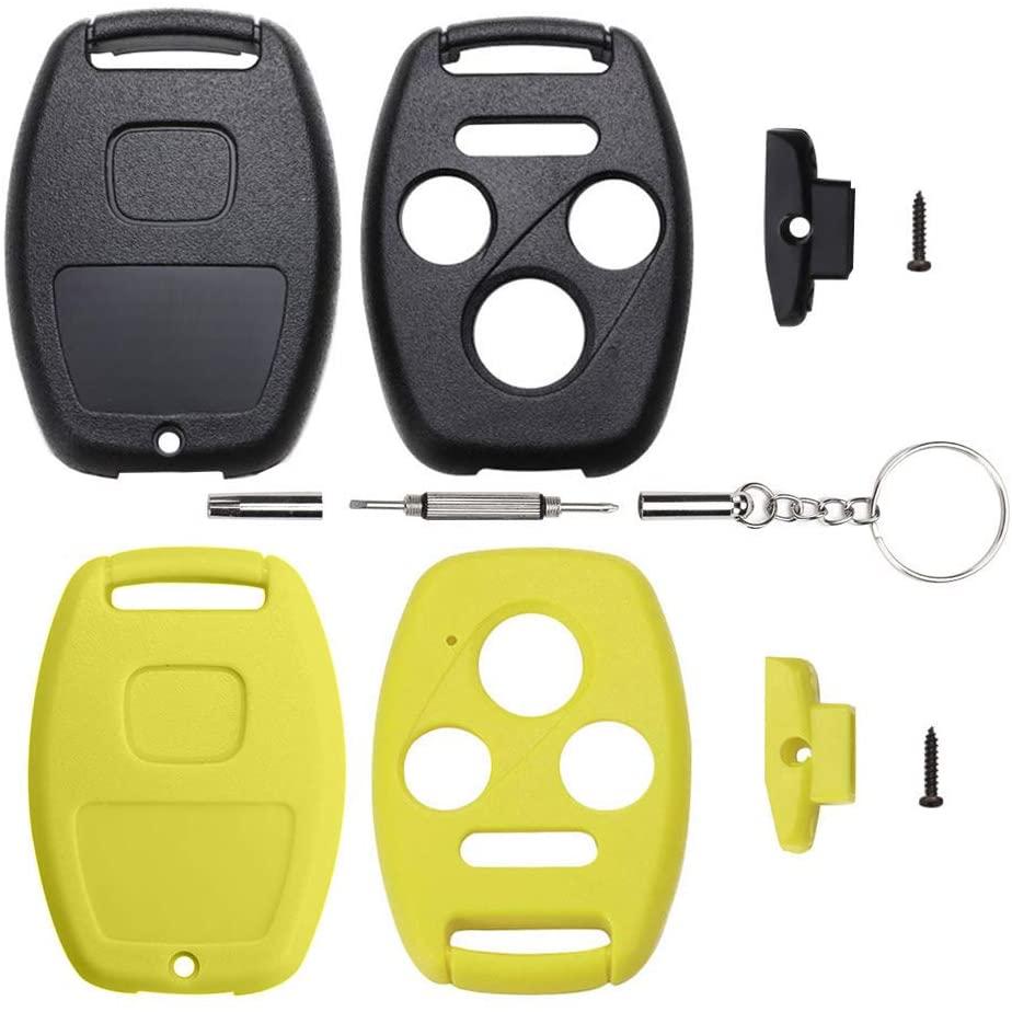 2 Replacement Key Fob Keyless Entry Remote Shell Case & Pad fits Honda 2003-2012 Accord / 2006-2013 Civic EX / 2009-2015 Pilot /2005-2006 CR-V(3+1 Button, Black+Yellow)