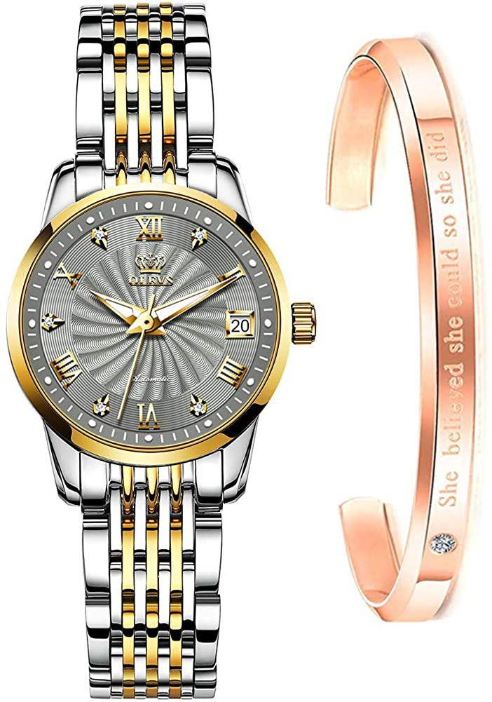 Women Watch Mechanical Automatic Self Winding Tengyi Gold Luxury Thin Watches for Womens Solid Stainless Steel HD Luminous Waterproof Ladies Bracelet Wrist Watch with Day Date Fashion Gift