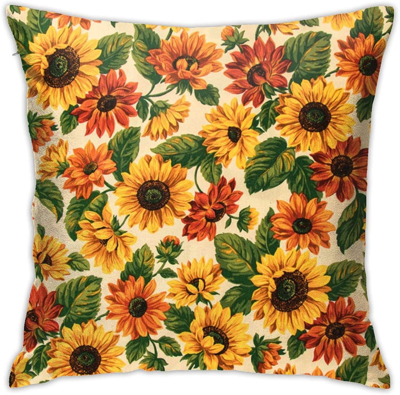 Dharmatala Yellow Sunflower Print Retro Pillowcase Throw Pillow Case Cushion Cover Polyester 18x18 Inch