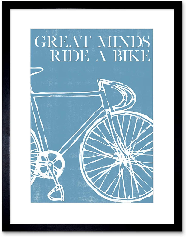 Wee Blue Coo Great Minds Ride A Bike Artwork Framed Wall Art Print 9X7 Inch