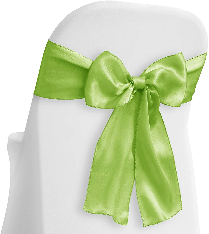 Lann's Linens - 100 Elegant Satin Wedding/Party Chair Cover Sashes/Bows - Ribbon Tie Back Sash - Lime Green