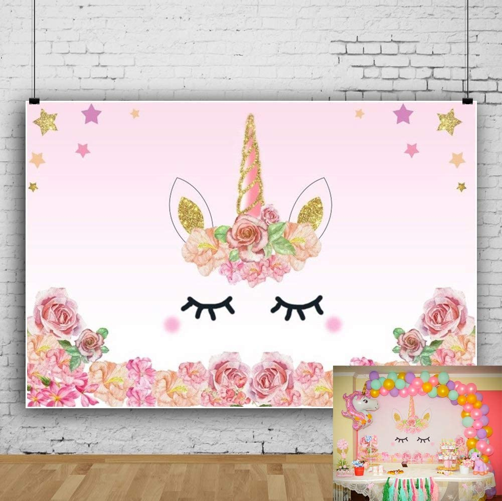Leowefowa Vinyl 7X5FT Unicorn Backdrop Happy Birthday Twinkle Stars Pink Rose Flowers Cartoon Photography Background Baby Shower Infant Toddlers Girls Photo Studio Props