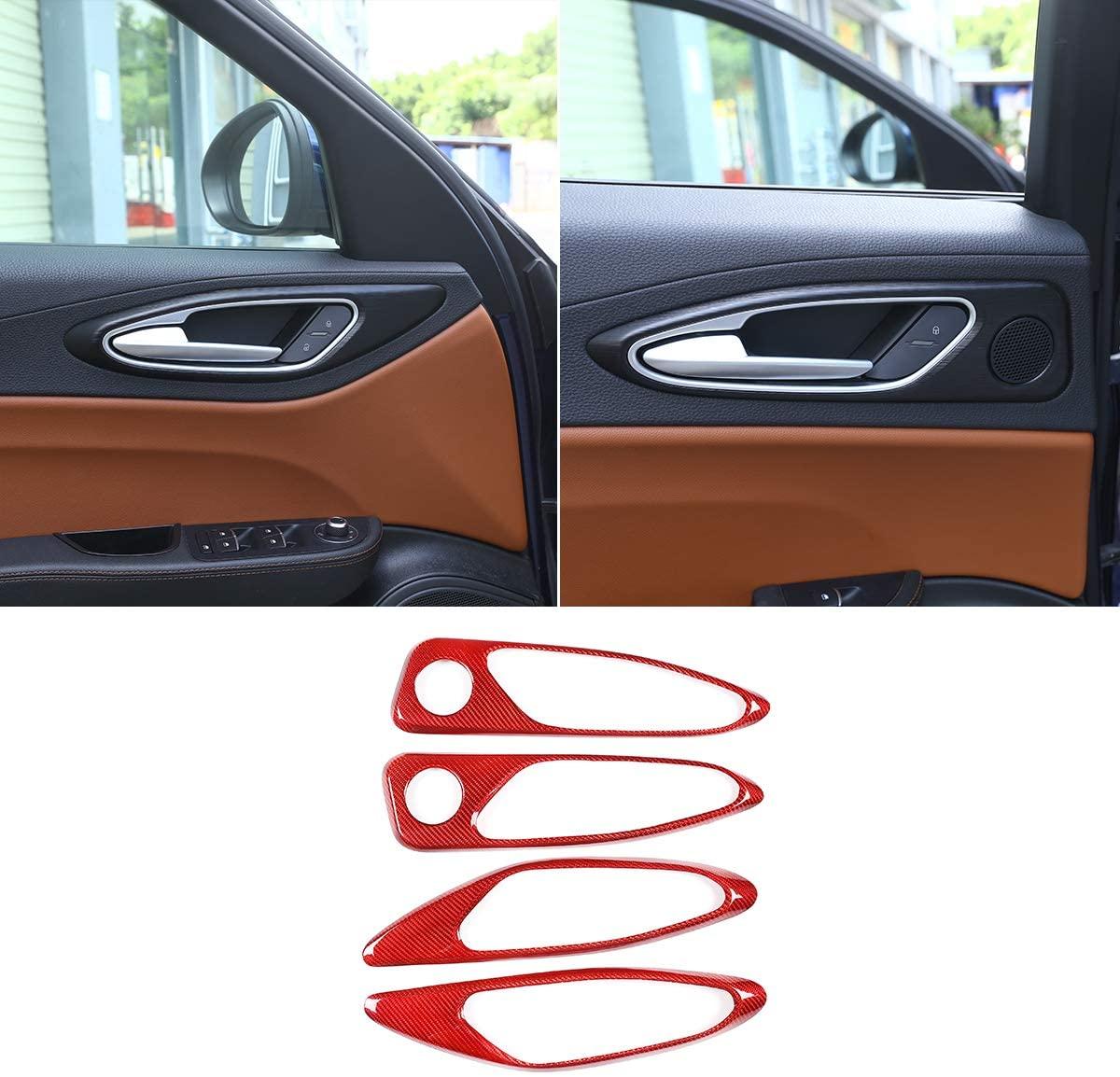 CHEYA 100% Real Carbon Fiber Car Interior Door Handle Frame Cover Trim Sticker for Alfa Romeo Giulia 2017-2020 Auto Accessories (Red)