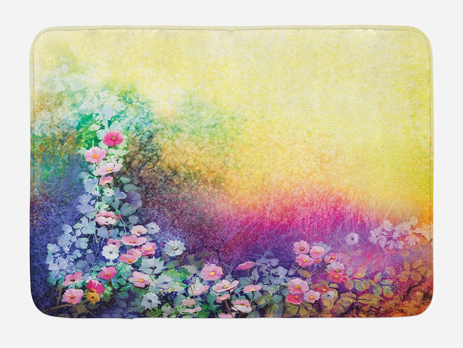 Ambesonne Flower Bath Mat, Ivy Floral Beauty in Spring Blooming Nature Soft Calm Paradise Print, Plush Bathroom Decor Mat with Non Slip Backing, 29.5