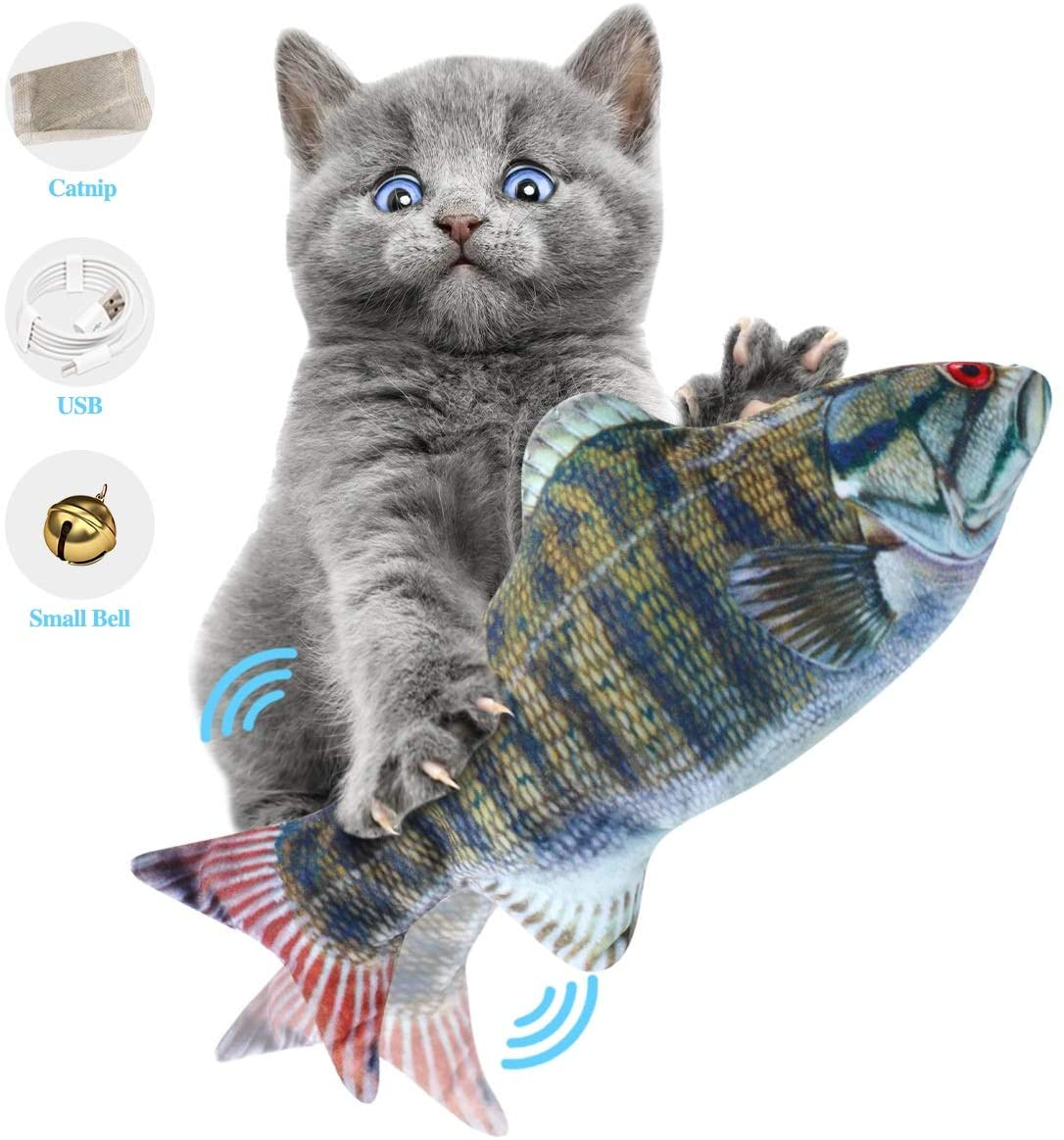 ODOLDI Electric Moving Cat Kicker Fish Toy, Realistic Flopping Fish, Wiggle Fish Catnip Toys, Motion Kitten Toy, Plush Interactive Cat Toys, Fun Toy for Cat Exercise