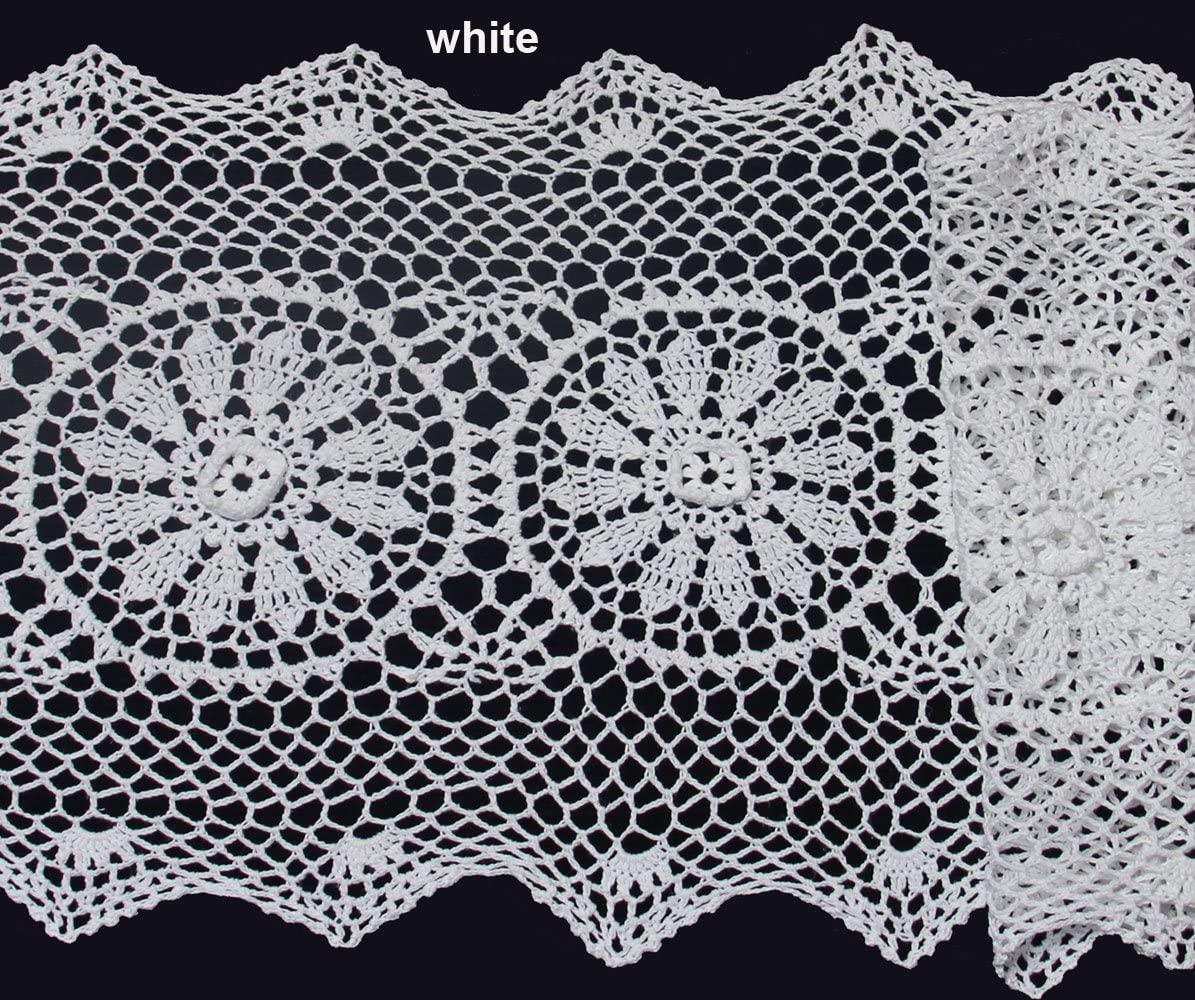 Creative Linens 14x54 Crochet Lace Table Runner White 100% Cotton Handmade 1PC