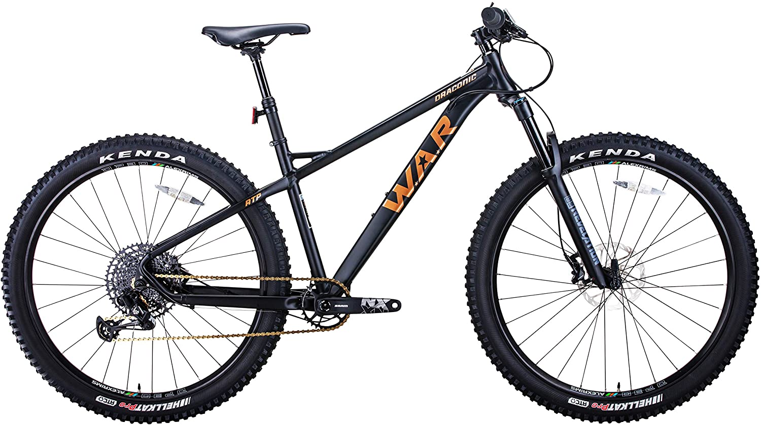 W.A.R Draconic RTP (Rigid Tail Pro) Mountain Bike, 29 inch Wheels, 6061 Aluminum High Performance Frame, 12 Speed Hardtail in S, M, L and XL Frame Size.