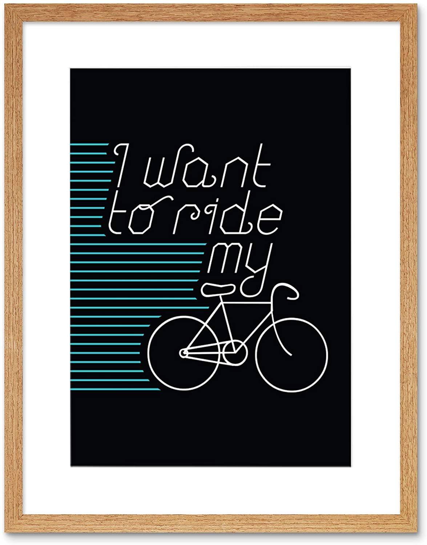 Wee Blue Coo I Want to Ride My Bike Artwork Framed Wall Art Print 9X7 Inch