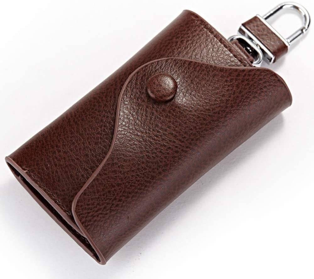 JFZS Leather Key Case Unisex Leather Wallet Cover Car Key Wallet with 6 Hooks for Men Women,Coffee