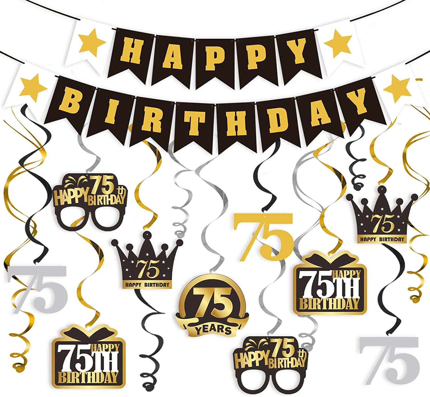 LINGTEER 75 Birthday Decorations Set - Happy 75th Birthday Party Swirls Streamers Crown Glasses Gift Box Sign | Happy Birthday Garland Banner Cheers to 75 Years Old Birthday Party Supplies