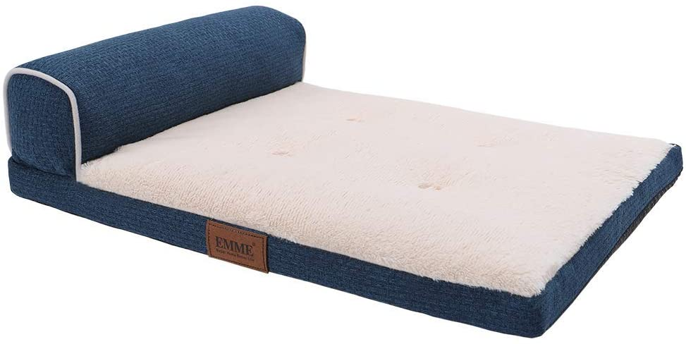 EMME Orthopedic Dog Bed for Small, Medium and Large Dogs T-Shape Bolster Pet Beds Ultra Plush with Removable Cover Washable