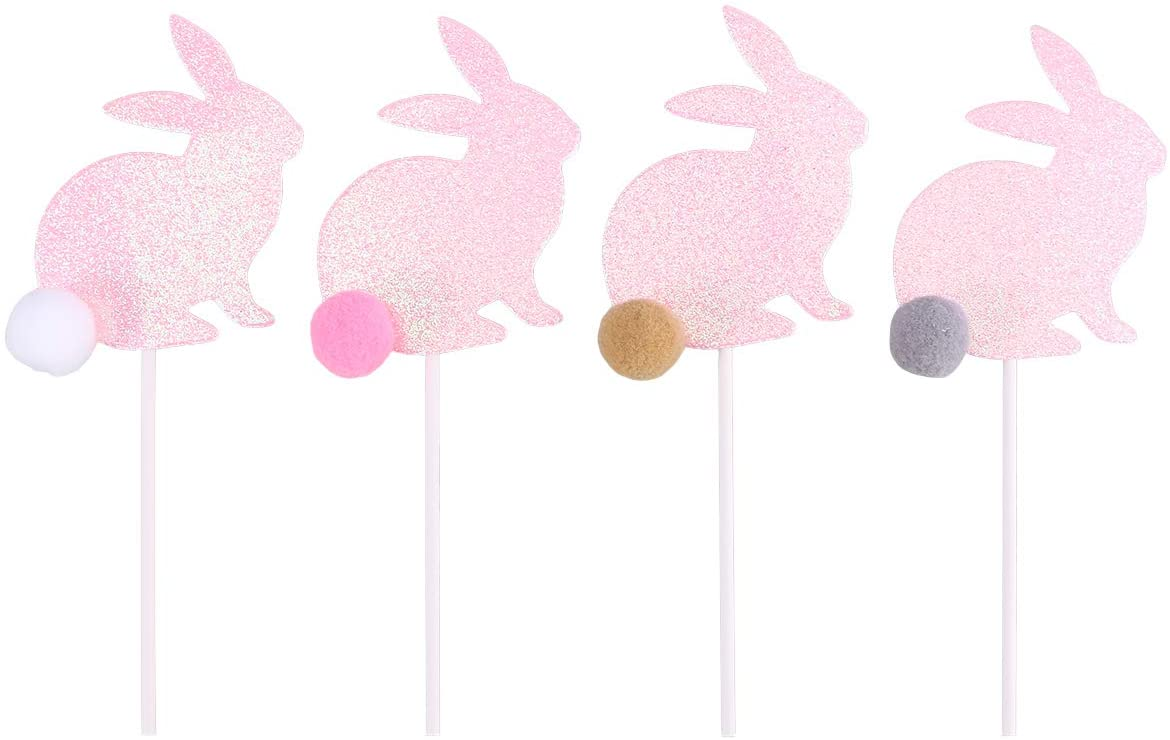 4 Pcs Cake Cupcake Toppers with Flush Ball Glitter Cute Rabbit Shaped Creative Plush Cupcake Picks Decoration for Wedding Birthday Party Baby Shower Christmas(Pink Rabbit) for Party Supplies