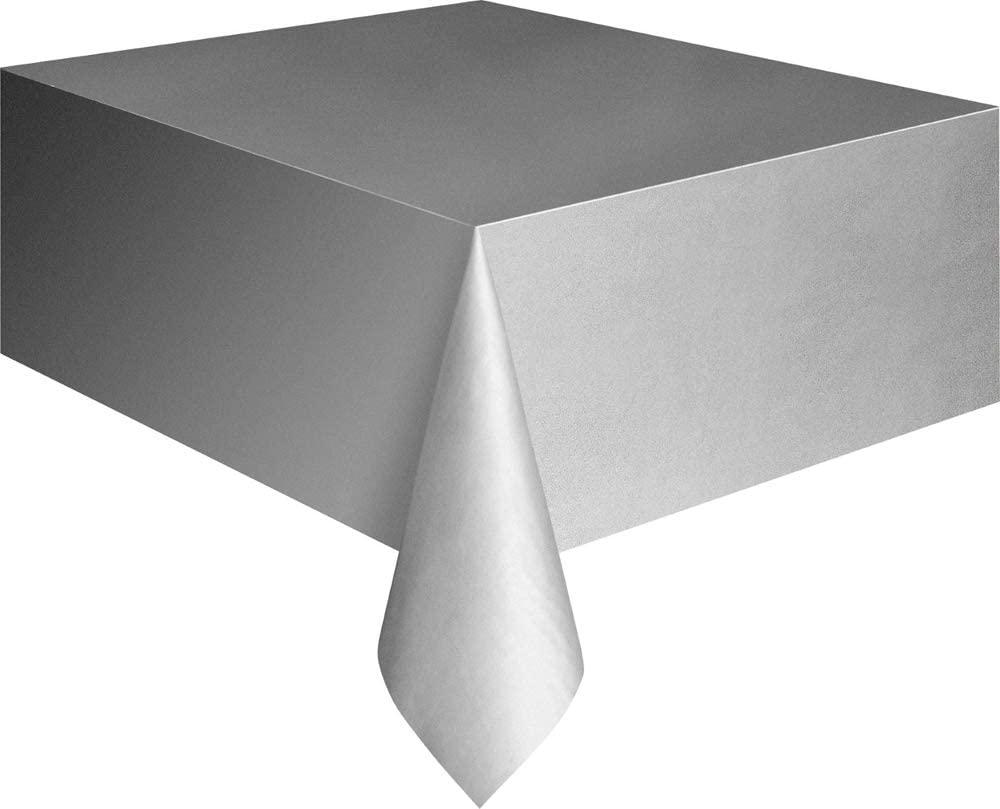 Silver Plastic Tablecloth, 108 x 54