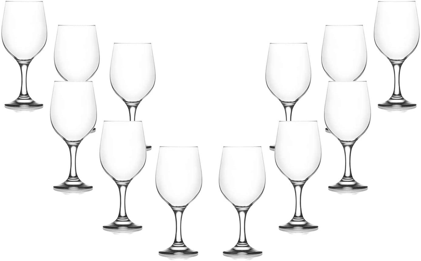 Fame Stemmed Wine Glasses 13.25 Oz, Modern Clear Goblets, Glassware Set of 12