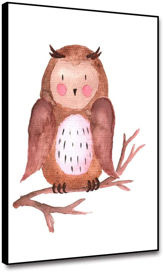 Cassisy Framed Canvas Wall Art Owl Stand In Branch Watercolor Modern Wall Poster Canvas Print Home Wall Decor 16x20inch Picture Wall Artwork Canvas Animal Painting For Living Room Bedroom Dinning Room
