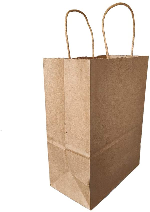 Kraft Paper Bags Bulk with Handles 7.9 x4.3 x10.6 inches 25 Pcs,Shopping Bags,Party Bags,Business Bags,Retail Bags,Gifts Bags,100% Recyclable Brown Paper Bags (Brown, 7.9 X 4.3 X 10.6 inches)