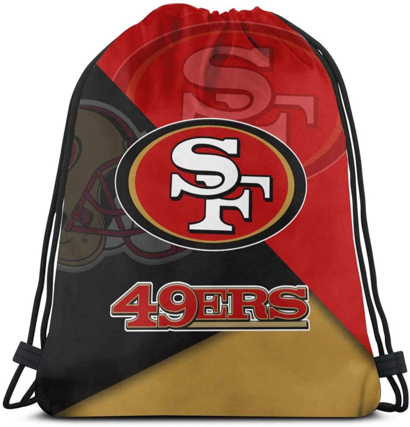 S-An Fr-Ancisco 49-Ers Drawstring Backpack String Bag Gym Bag Sackpack Cinch Water Resistant Polyester Gympack For Camping Hiking Swimming 14.2x16.9 Inch