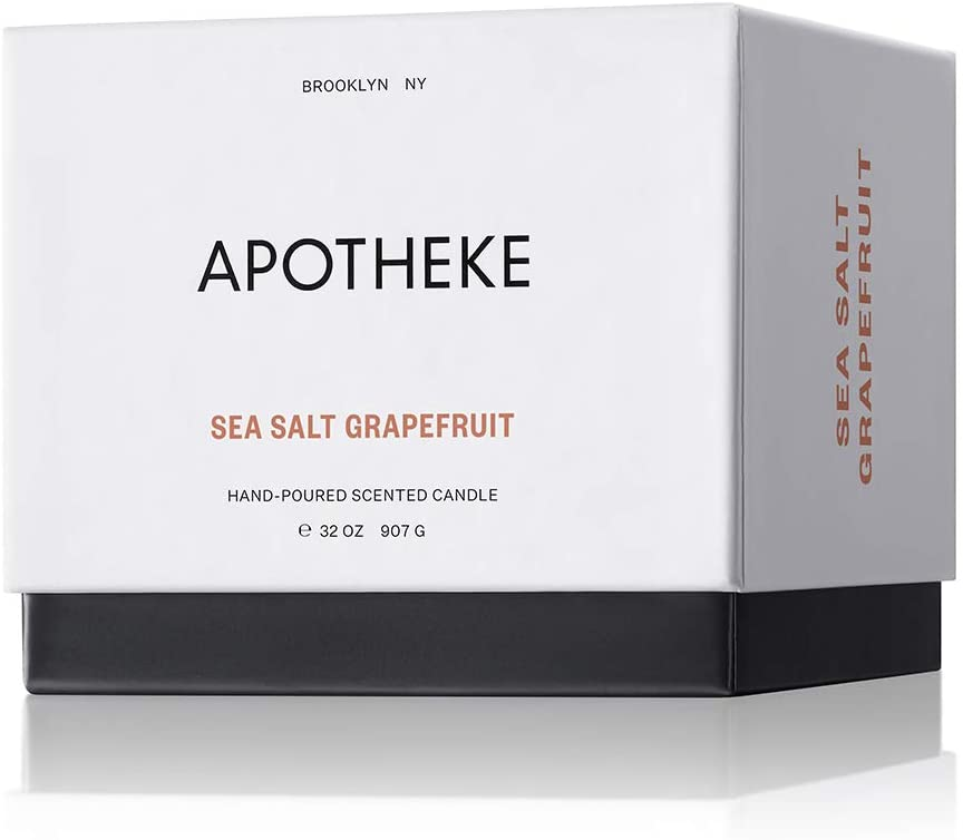 APOTHEKE Luxury Scented 3-Wick Jar Candle, Sea Salt Grapefruit, 32 oz - Perfume-Grade Fragrance Oil, Maximum Essential Oil, Perfect Soy Wax Blend, Unique Formulation, Strong, Clean Burn