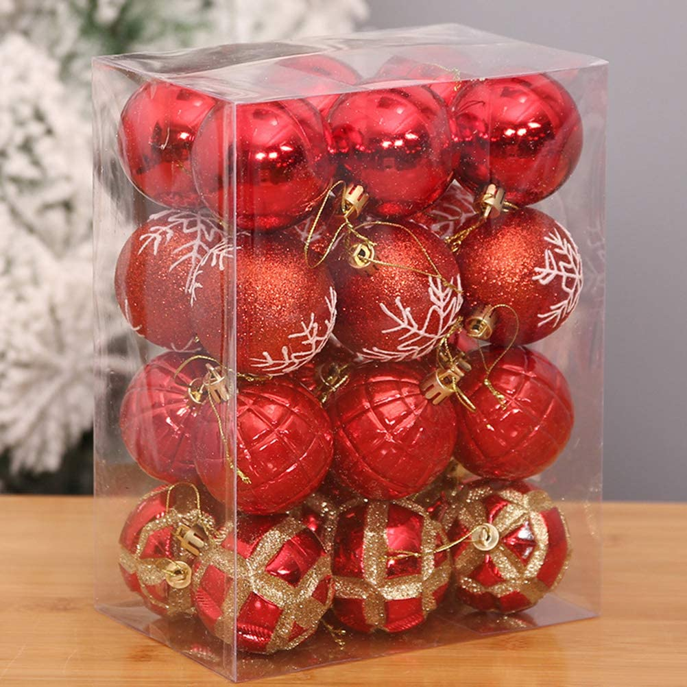 VORCOOL 24pcs 60mm/2.4 Shiny Matte Glitter Hanging Christmas Balls Ornaments Baubles Set